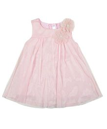 Kidsdew Sleeveless Dress Floral Applique - Blush Pink