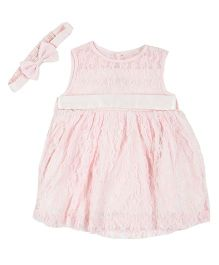 Kidsdew Sleeveless Party Wear Frock With Headband - Light Pink
