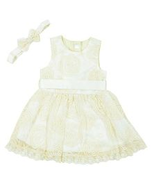 Kidsdew Sleeveless Party Wear Frock With Headband - Off White