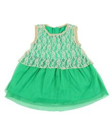 Kidsdew Sleeveless Lace Dress - Green