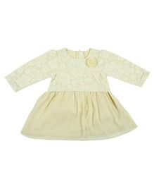 Kidsdew Long Sleeves Dress Floral Design - Light Yellow
