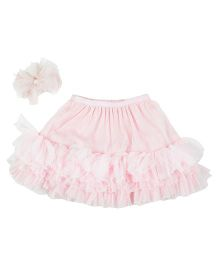 Kidsdew Party Wear Skirt With Snap Clip - Pink