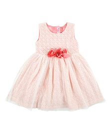 Kidsdew Sleeveless Partywear Frock With Rosette - Light Pink