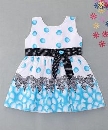Enfance Polka Dotted Dress With Attached Buttoned Tie Bow - Blue