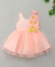 Enfance Sparkling Flared Netted Dress - Peach
