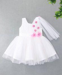 Enfance Sparkling Flared Netted Dress - White