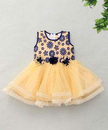 Enfance Flower & Pearl Attached Netted Dress - Coffee