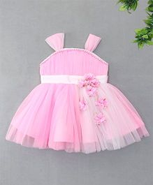 Enfance Flower & Pearl Attached Netted Dress - Pink