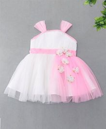 Enfance Pearls & Flowers Attached Netted Dress - Off White & Pink