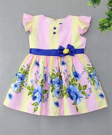 Enfance Flower Printed Bow Attached Dresss - Pink & Yellow