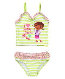Disney Swimwear Stripe Design Printed - Green And White