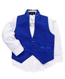 Robo Fry Full Sleeves Printed Shirt And Waistcoat - Royal Blue White