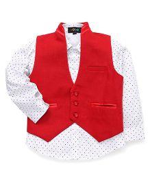 Robo Fry Full Sleeves Printed Shirt And Waistcoat - Red White