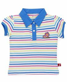 Bodycare Puffed Sleeves Striped Tee With Floral Patch - Blue