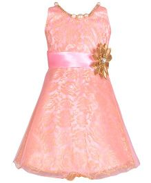 Aarika Party Wear Dress With Flower Applique & Necklace - Pink