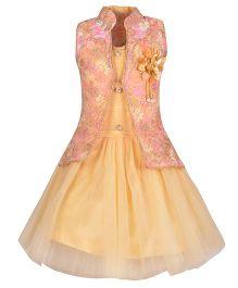 Aarika Party Wear Dress With Jacket - Fawn