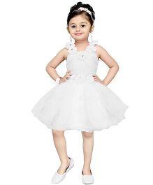 Aarika Flower Applique Empire Waist Dress - Cream
