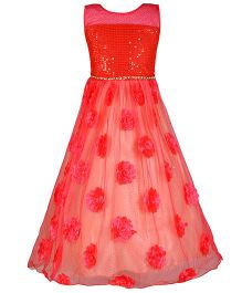 Aarika Semi Flower Applique Party Wear Gown - Red