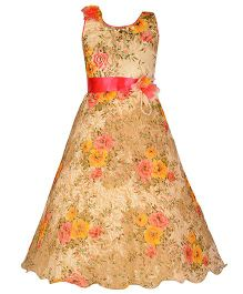Aarika Floral Print Party Wear Gown - Fawn