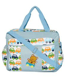 Ez Life Cars & Teddy Printed Multi Pocket Diaper Carry Bag - Blue