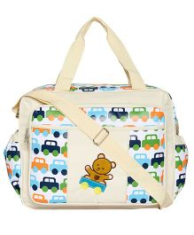 EZ Life Cars & Teddy Baby Diaper Multi Pocket Carry Bag - Cream