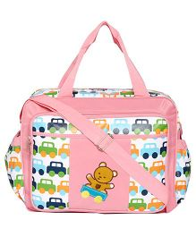 Ez Life Cars & Teddy Baby Diaper Multi Pocket Carry Bag - Pink