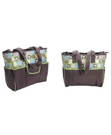 EZ Life Happy Monkey Printed Large Carry Bag - Brown & Green