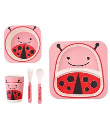 Ez Life 5 Pieces Ladybird Printed Kids Dining Set - Pink