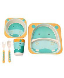 EZ Life Hippo Printed 5 Pieces Kids Dining Set - Blue & Yellow