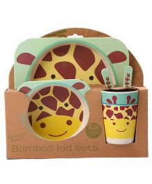 EZ Life 5 Pieces Giraffe Printed Kids Dining Set - Yellow & Brown