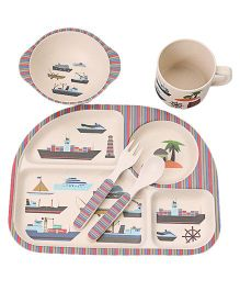 Ez Life Cruise Liners Printed 5 Pieces Kids Rectangle Dining Set - Multicolour