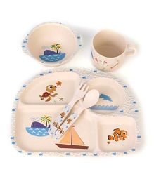 Ez Life Sea World Printed 5 Pieces Kids Rectangle Dining Set - Multicolour