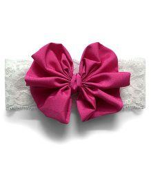 Knotty Ribbons Big Bow Hairband - Dark Pink