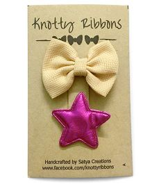 Knotty Ribbons Bow & Star Alligator Clip Set - Beige & Pink