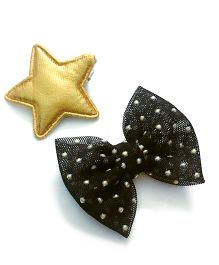 Knotty Ribbons Bow & Star Alligator Clip Set - Black & Golden