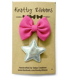 Knotty Ribbons Bow & Star Alligator Clip Set - Silver & Pink