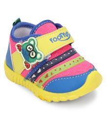 Footfun Casual Shoes With Velcro Closure - Pink Yellow