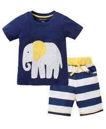 Cherubbaby Elephant Applique 2 Pc Set - Blue & White