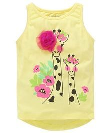 Cherubbaby Giraffee Printed Tee With Flower Applique - Yellow