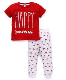 Spark Half Sleeves Night Suit Happy Print - Red & White
