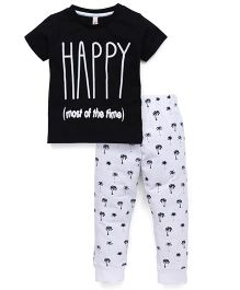 Spark Half Sleeves Night Suit Happy Print - Black & White