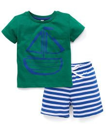 Spark Half Sleeves Print T-Shirt & Shorts Set Boat Print - Green & Royal Blue