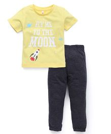 Spark Half Sleeves T-Shirt And Leggings Set Rocket Print - Yellow