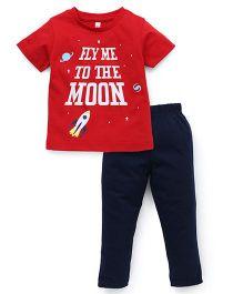 Spark Half Sleeves T-Shirt And Leggings Set Rocket Print - Red
