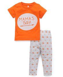 Spark Half Sleeves Printed Night Suit - Orange Grey