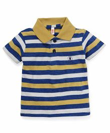 Spark Half Sleeves T-Shirt Stripes Print - Yellow Blue