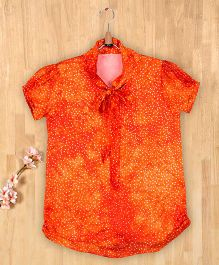 Silverthread Knotted Style Collar Printed Top - Orange