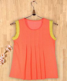 Silverthread Polka Dot Pleated Top -Peach And Neon Green