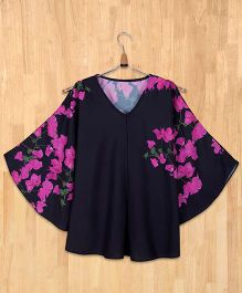 Silverthread Bougainville Print Flared Top -Black & Magenta