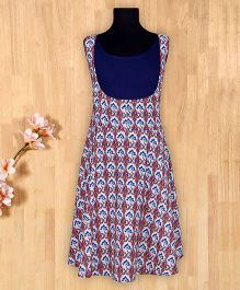 Silverthread Printed Frock With Plain Top - Navy Blue